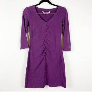 Athleta Ruched 3/4 Sleeve Purple Dress XS